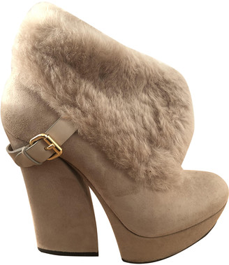 Gianmarco Lorenzi Beige Leather Ankle boots