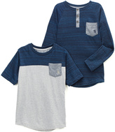 English Laundry Navy Stripe Henley & Color Block Crewneck Tee - Boys