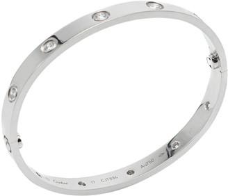 Cartier Love White Gold 10 Diamonds Bracelet Size 17