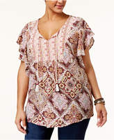 Style&Co. Style & Co Plus Size Cotton Mixed-Print Peasant Top, Only at Macy's