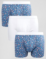 Asos Trunks With Ditsy Floral Print 3 Pack