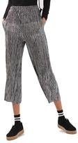 Topshop Petite Women's Metallic Stripe Plisse Trousers