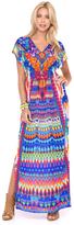 Luli Fama Tribal Beach Cap Sleeve Long Caftan In Multicolor (L455990)