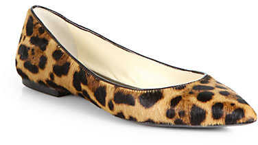 Brian Atwood Leopard Calf Hair Point-Toe Flats