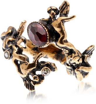 Alcozer & J Amorino Golden Brass Ring w/Gemstones