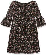 Yumi Girl's Floral Printed Lace Funnel Sleeve Dress