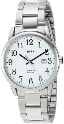 Timex Men's TW2R23300 Easy Reader 38mm Silver-Tone/White Stainless Steel Bracelet Watch