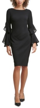 Calvin Klein Petite Crepe Chiffon-Sleeve Sheath Dress