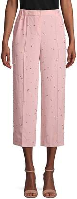 Miu Miu Embellished Cropped Silk Pants