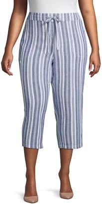 Per Se Plus Striped Linen Blend Drawstring Pants