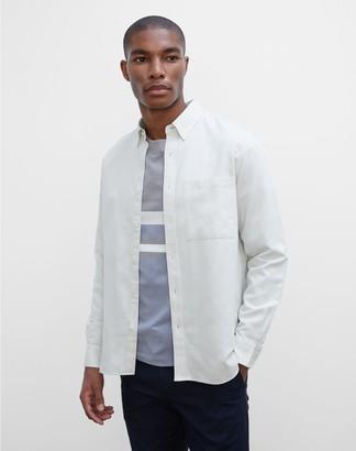 Club Monaco Long Sleeve Solid Twill Shirt