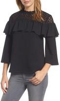 Halogen Women's Lace Yoke Ruffle Top