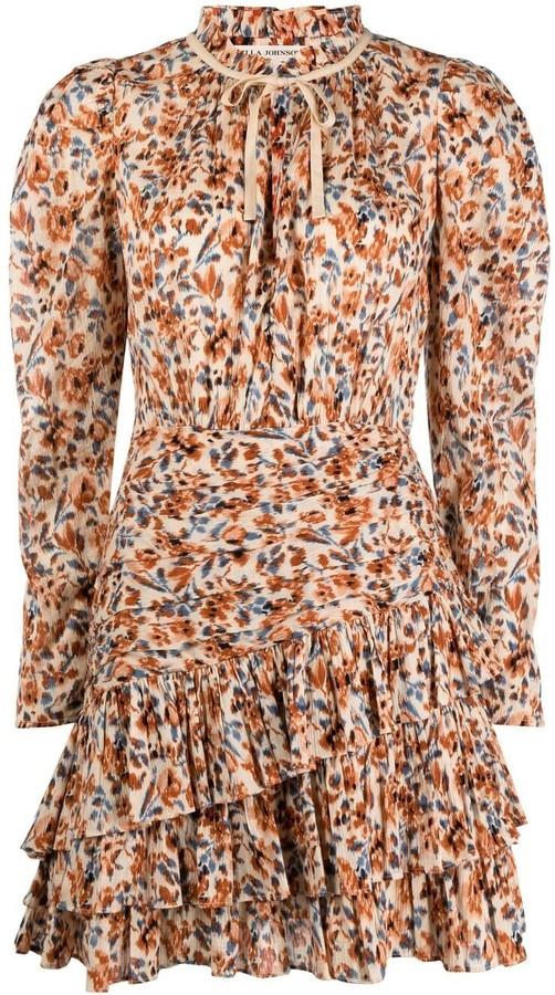 Ulla Johnson Floral-Print Draped Short Dress