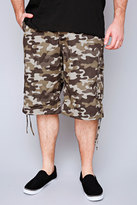 Yours Clothing NOIZ Brown & Khaki Camo Print Cotton Cargo Shorts With Pockets
