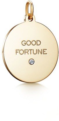 """Tiffany & Co. Charms """"Good Fortune"""" tag in 18k gold with a diamond, medium"""