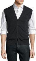 Neiman Marcus Cashmere Button-Front Vest, Charcoal