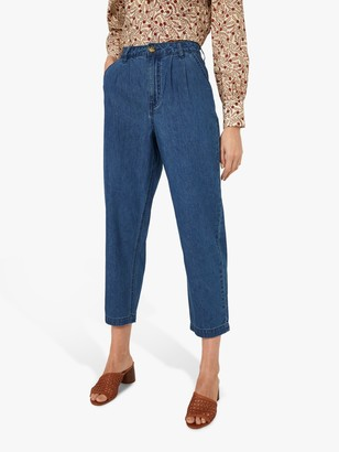 Warehouse Pleated Front Cropped Denim Trousers, Mid Wash