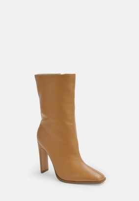 Missguided Taupe Calf Height Heeled Boots