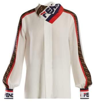Fendi Mania Logo-print Silk Blouse - Womens - White Multi