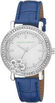 Laura Ashley Ladies Blue Floral Stone Bezel Watch La31013Bl