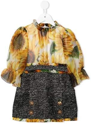 Dolce & Gabbana Sunflower Sequin Embroidered Dress