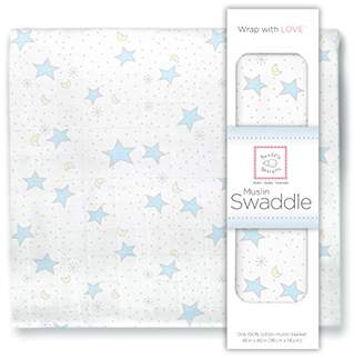 Swaddle Designs X-Large Cotton Muslin Swaddle Blanket, Pastel Blue Twinkle