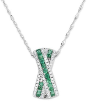 "Macy's Emerald (3/8 ct. t.w.) & Diamond (1/4 ct. t.w.) Crisscross 18"" Pendant Necklace in 14k White Gold"