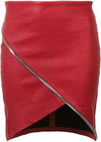RtA asymmetric zip detail skirt - women - Lamb Skin - 4