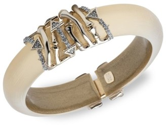 Alexis Bittar 10K Gold & Rhodium-Plated Crystal Bamboo Hinge Cuff Bracelet
