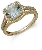 Lord & Taylor 14Kt. Yellow Gold Green Amethyst and Diamond Ring