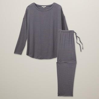 Love & Lore Love And Lore Azalea Pajama Set Blue Stripe X-Large