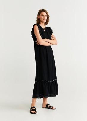 MANGO Ruffle gown black - 4 - Women