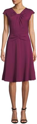 Milly Tatiana Cap-Sleeve A-Line Stretch-Silk Dress