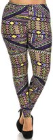 Always Womens Junior Plus Stretch Diamond Print Leggings Purple Yellow