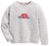 Petit Bateau Girls wool and cotton knit jacquard sweater