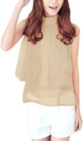 Allegra K Women Summer Sleeveless Pleated Top Tiered Sheer Chiffon Shirt