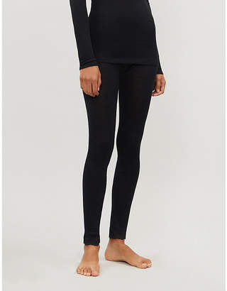 Hanro Woolen lace-trim wool and silk-blend leggings