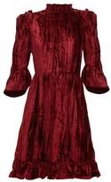 Batsheva Ruffled Plisse Cotton-velvet Mini Dress - Womens - Burgundy