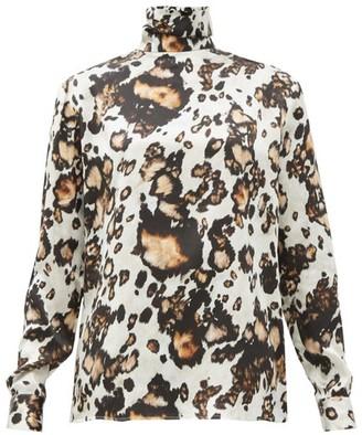 Edward Crutchley Animal-print Roll-neck Silk Blouse - Leopard