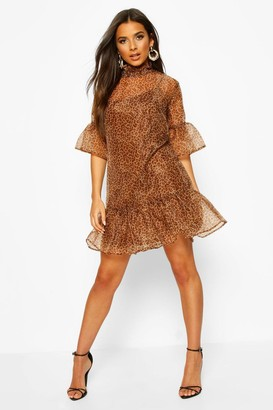 boohoo Leopard Print Organza Mesh Shift Dress