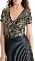 Lauren Ralph Lauren Metallic Geometric Knit Cold Shoulder Sweater