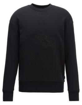 HUGO BOSS Cotton Terry Sweatshirt With Tonal Embroidery - Black
