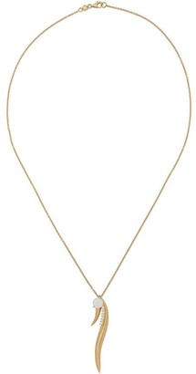 Daou 18kt yellow gold Phoenix feather diamond and opal pendant necklace