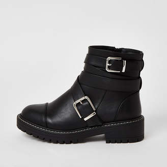 River Island Black buckle strap wide fit chunky boots