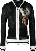 Philipp Plein hooded mesh jacket - women - Cotton/Acrylic/Nylon/Polyester - S