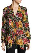 Etro Floral-Print Silk Tie-Neck Blouse