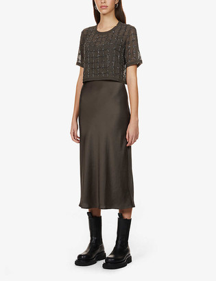 AllSaints Reille 2-in-1 embellished-overlay woven midi dress