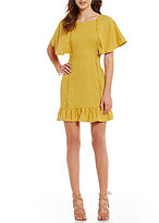 J.o.a. Bell Sleeve Ruffle Hem Sheath Dress