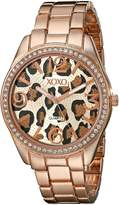 XOXO Women's XO5638 Rose Gold-Tone Leopard Dial Bracelet Watch