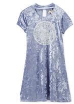 Speechless Chambray Velvet Lace Print A-Line Dress - Girls